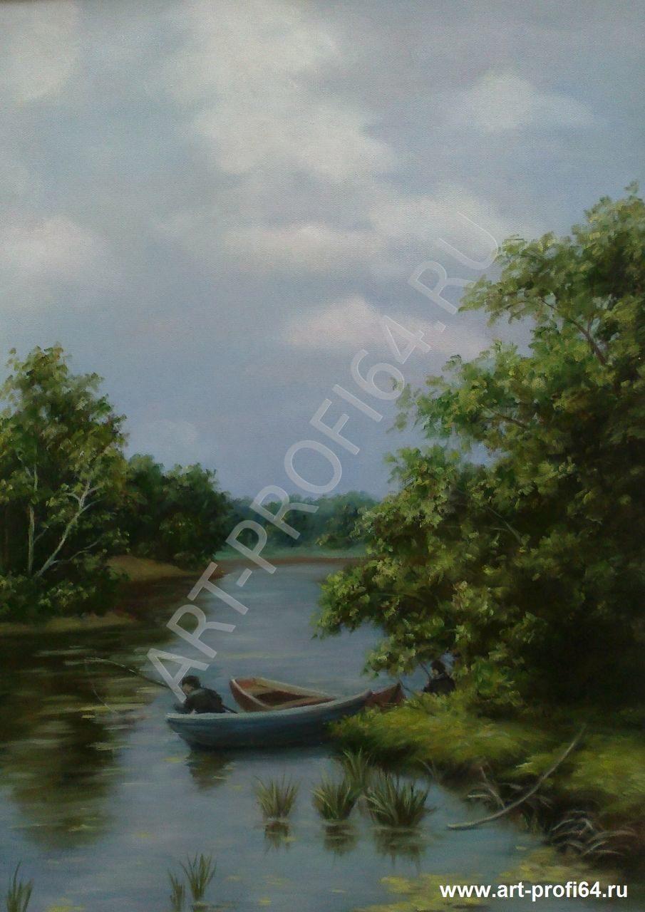 Картина на рыбалке выполнил художник