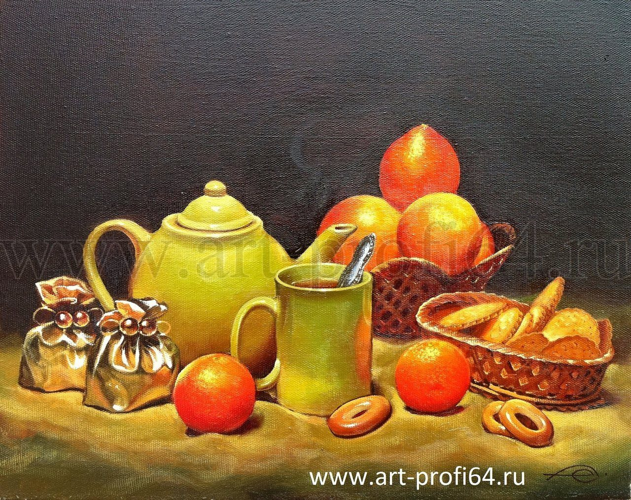 """Картина """"Чаепитие"""" выполнил художник ...: art-profi64.ru/natyurmorty"""